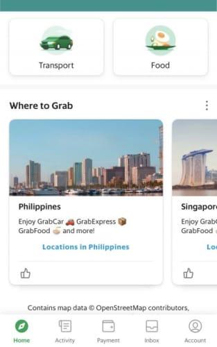 Grabの選択画面