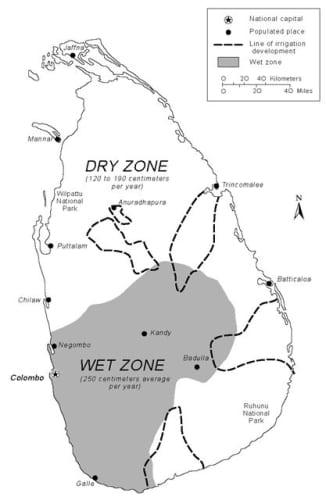 スリランカの湿潤地帯と乾燥地帯