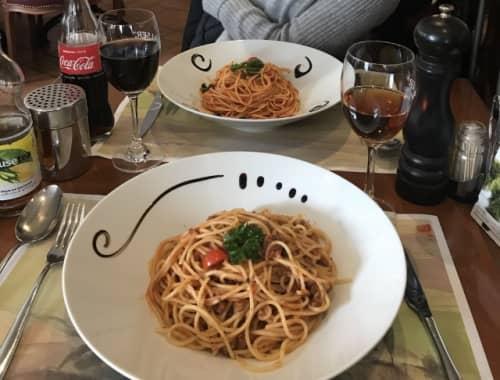レストランで食べたスパゲッティ