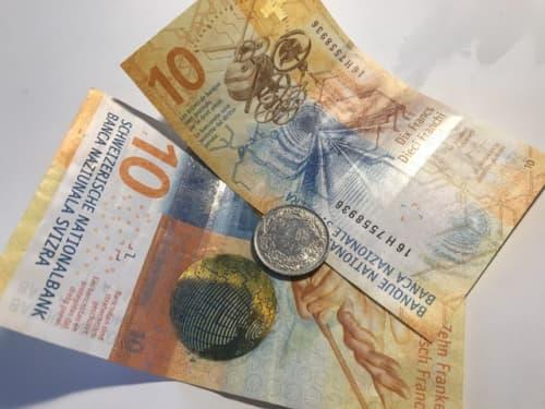 スイスフランのお札と小銭