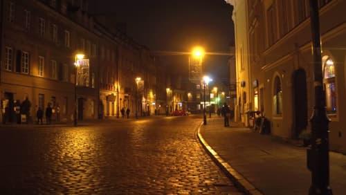 夜中のワルシャワにて