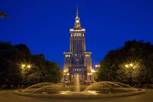 夜のワルシャワ観光中