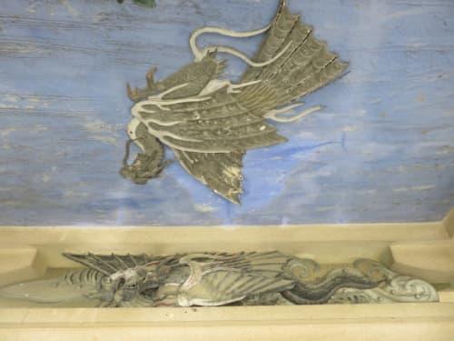 元城町東照宮手水舎の鳳凰と龍