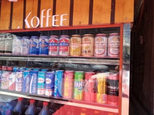 カンボジアの飲み物を販売する屋台