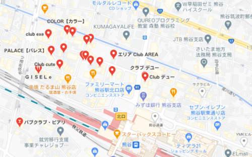 熊谷のキャバクラマップ
