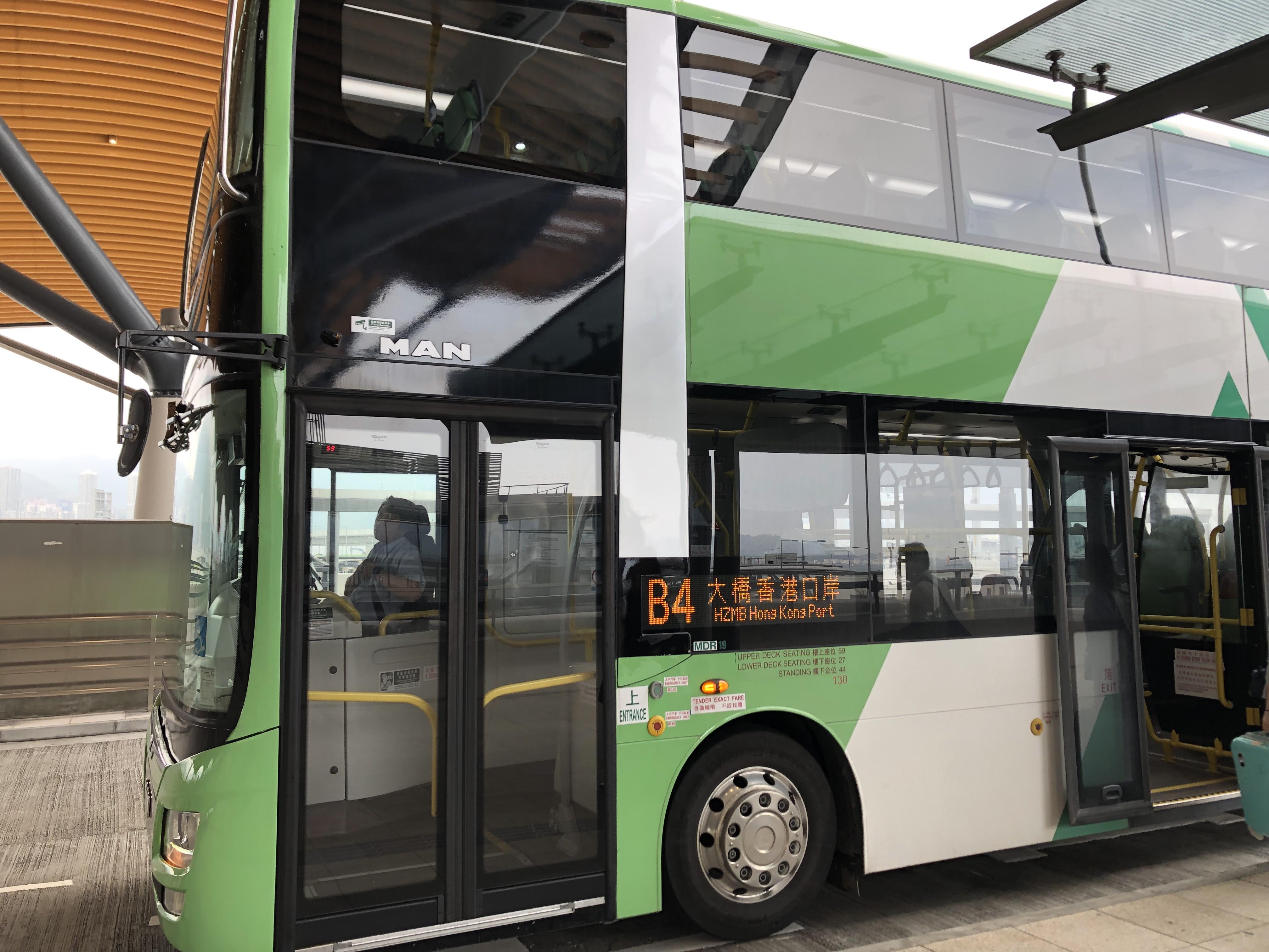 港珠澳大橋の香港側の乗り場「香港口岸」に香港国際空港から向かうB4のバス