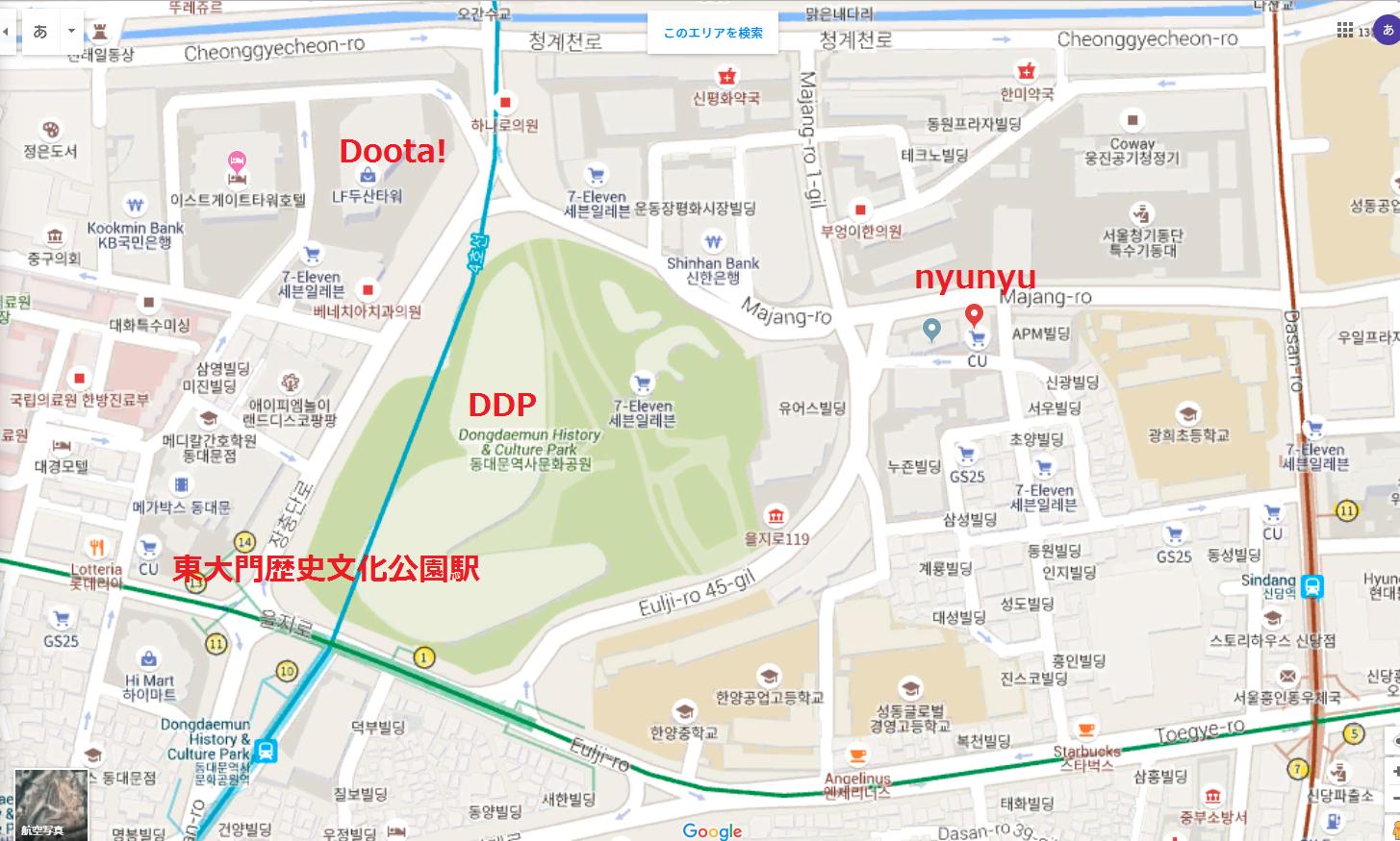 ソウル アクセサリー専門店nyunyu 地図