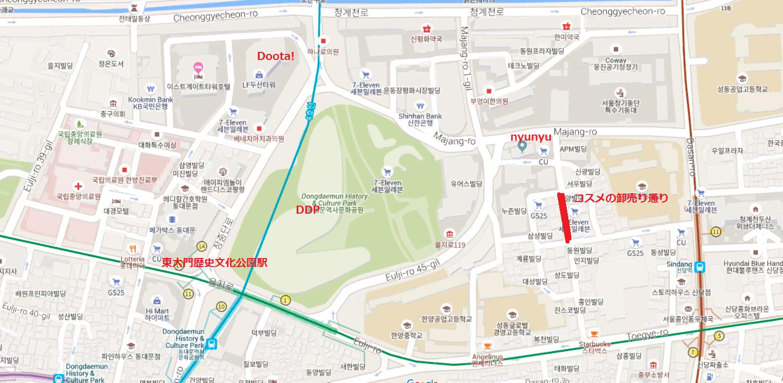 東大門エリア ソウル 地図