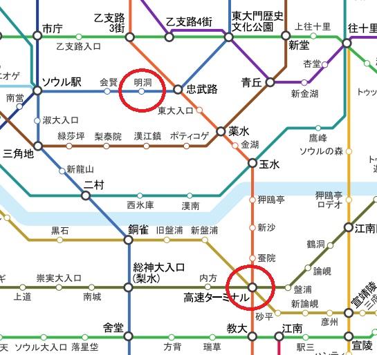 ソウルの高速ターミナルエリア 地図