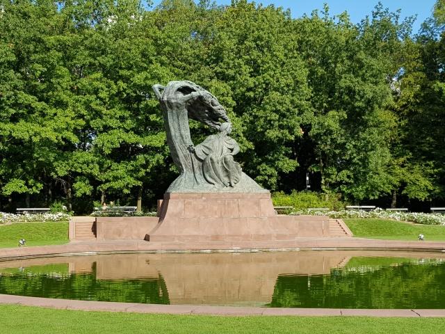 ワルシャワ ワジェンキ公園 ショパン像