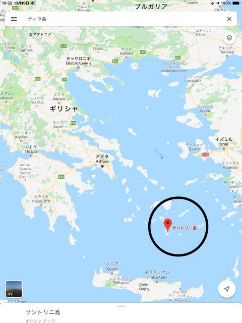 サントリーニ島周辺地図