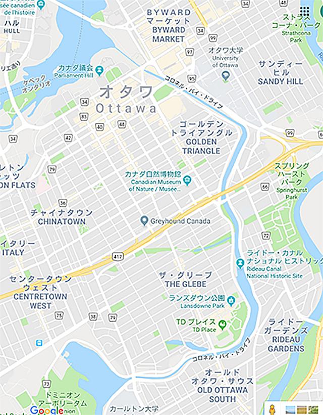 カナダ オタワ グリーブ地区周辺地図