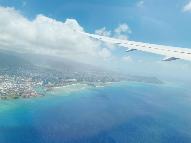機内から見たハワイ