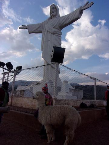 サクサイワマンの近くのキリスト像