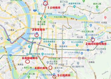 台北の夜市マップ