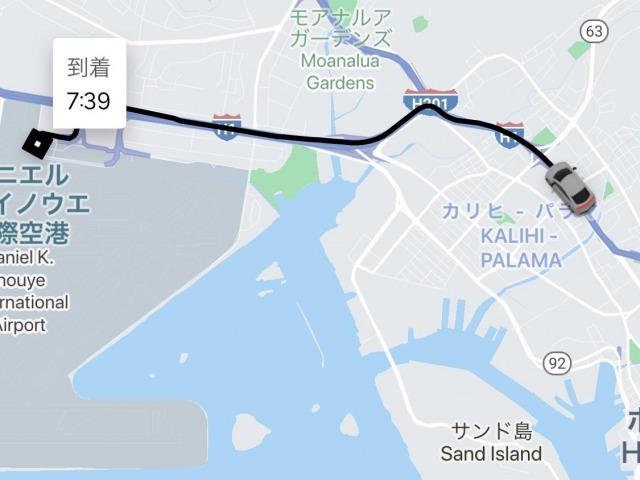 乗車中の地図