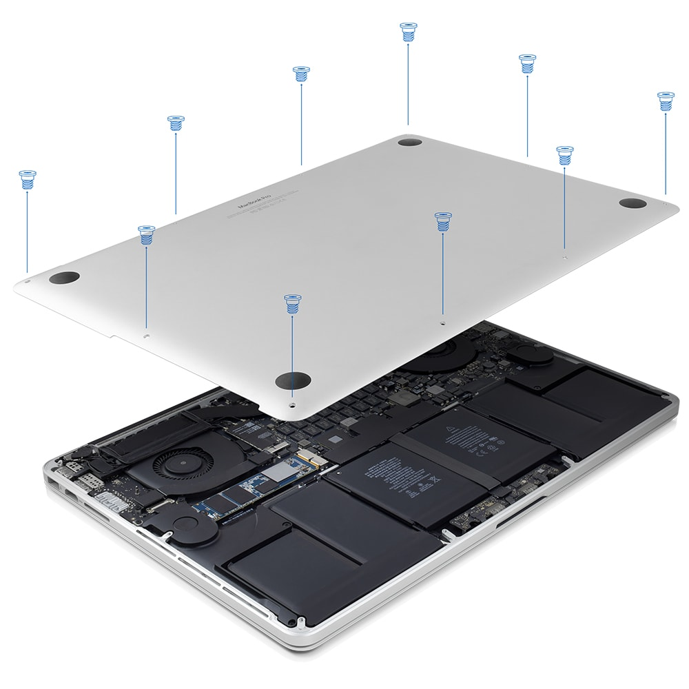 owc aura pro x2 diy upgrade installed in macbook pro with retina display