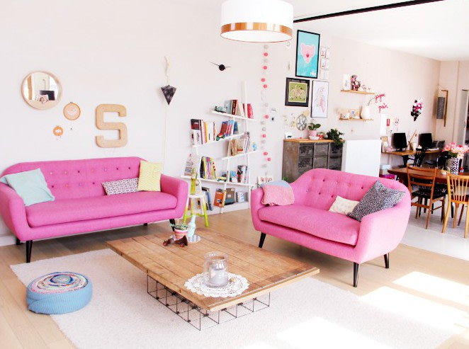 Ritchie 3 Seater Sofa, candy pink with rainbow buttons | MADE.com