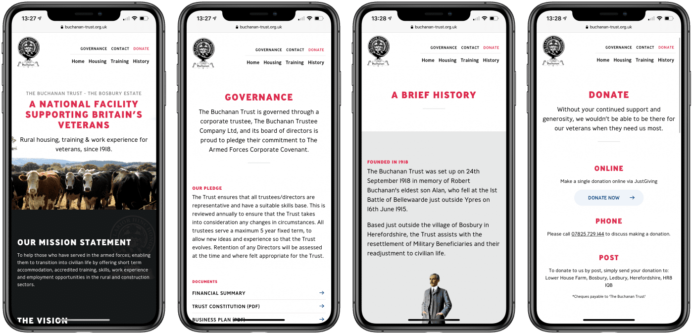 Buchanan Trust website on mobile