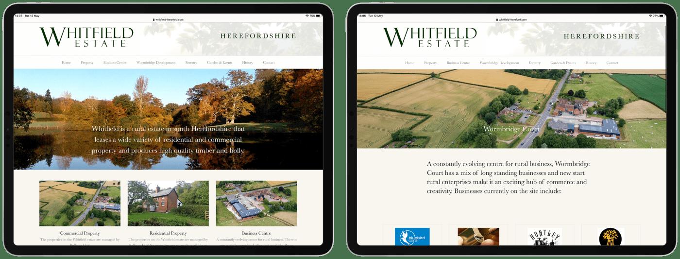 Whitfield Estate website on iPad