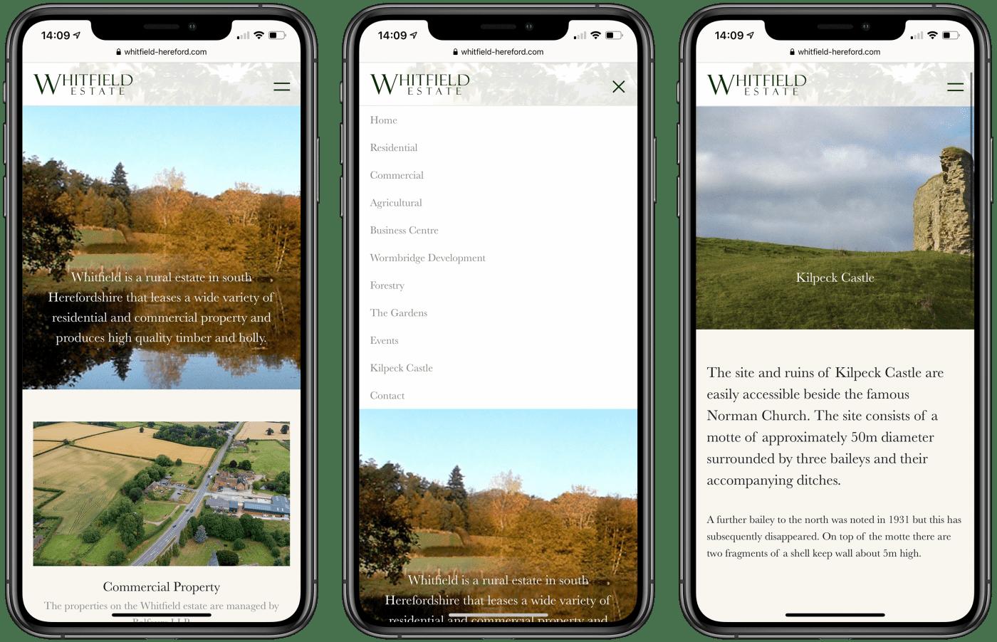 Whitfield Estate website on mobile