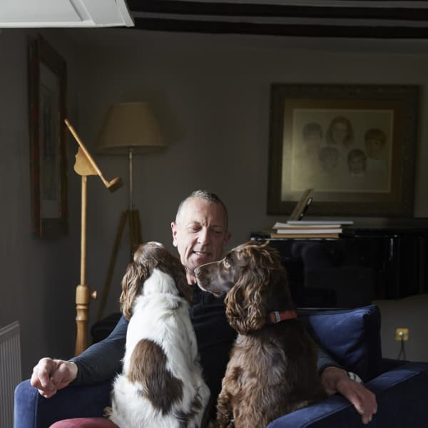 Customer portrait with two dogs