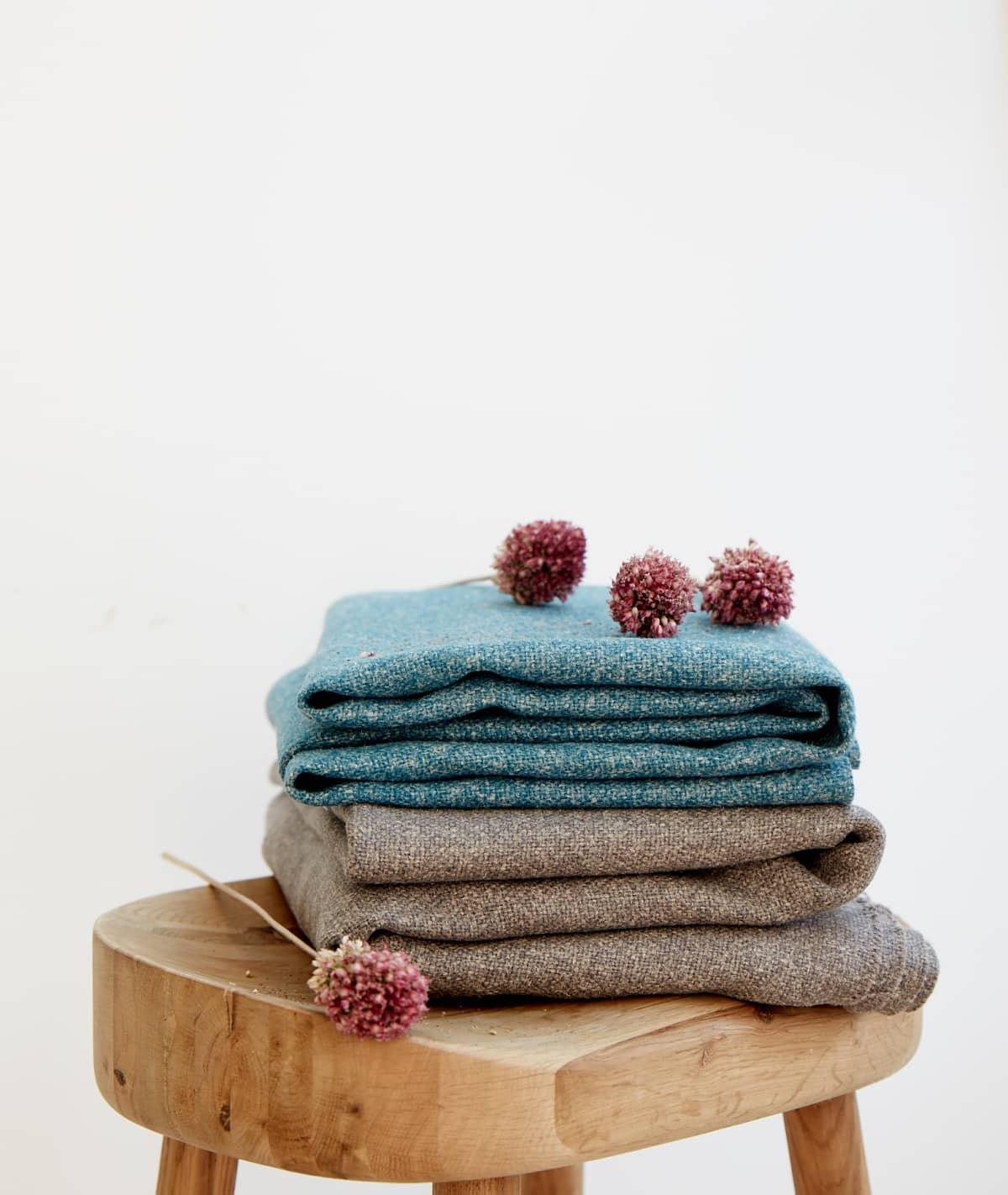 Stitched Jute Green Brown & Water Blue Hemp SustainableCurtains