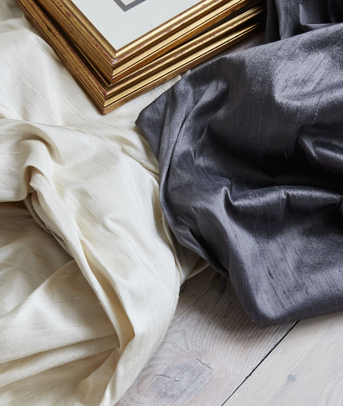Stitched Gunmetal Grey & Pearl White Silk Curtains