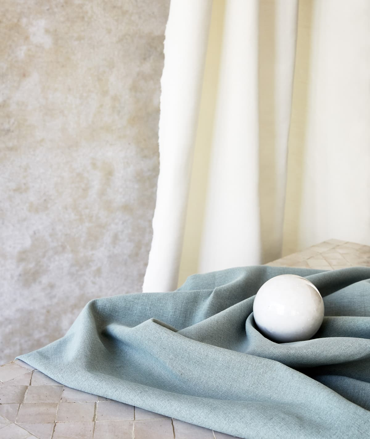 Stitched White & Washed Teal Blue Linton Linen Curtains