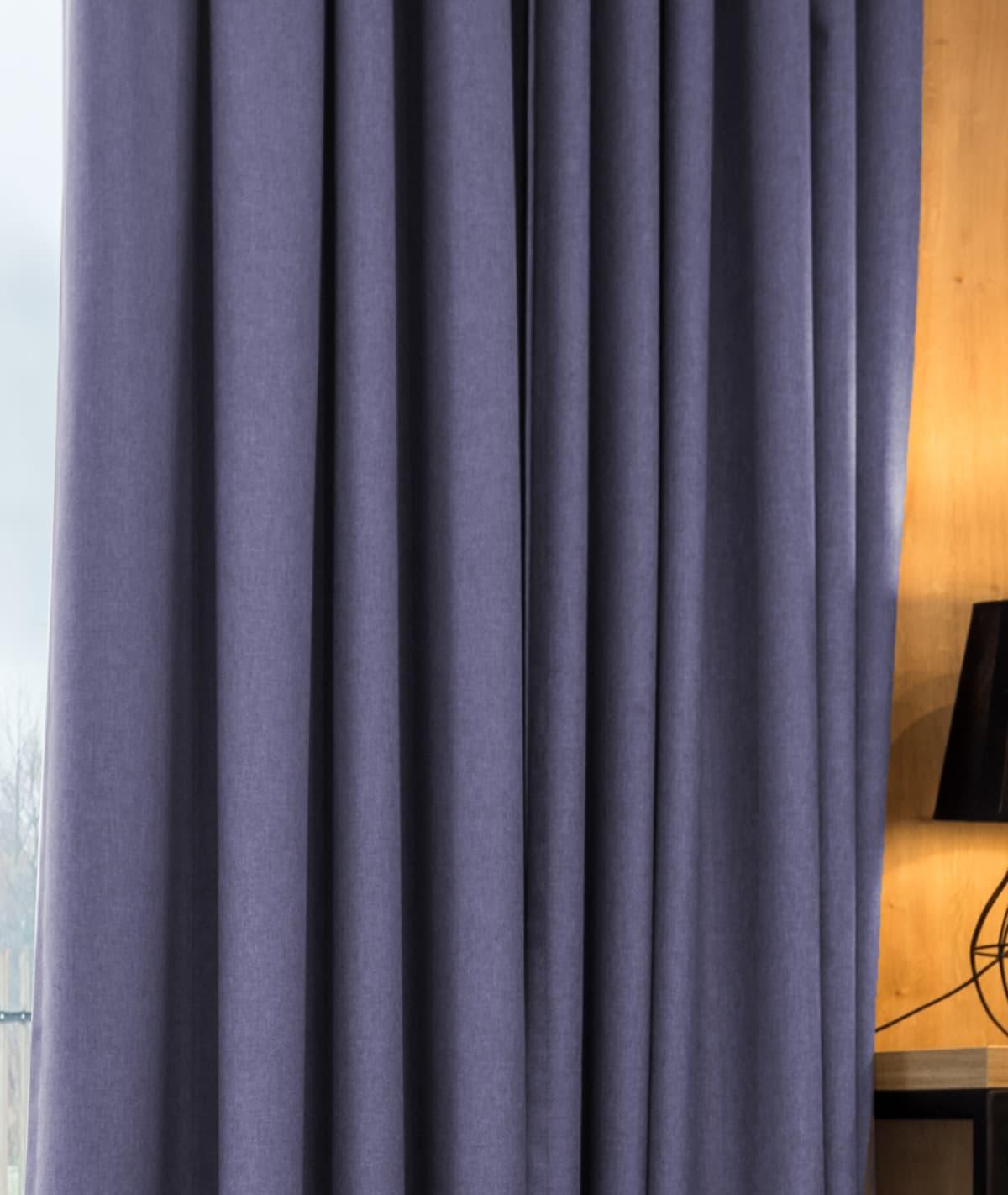 Stitched Midnight Purple Cotton Weave Curtains