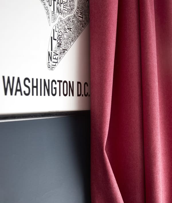 Stitched Calypso Red Sustainable Wool Curtains
