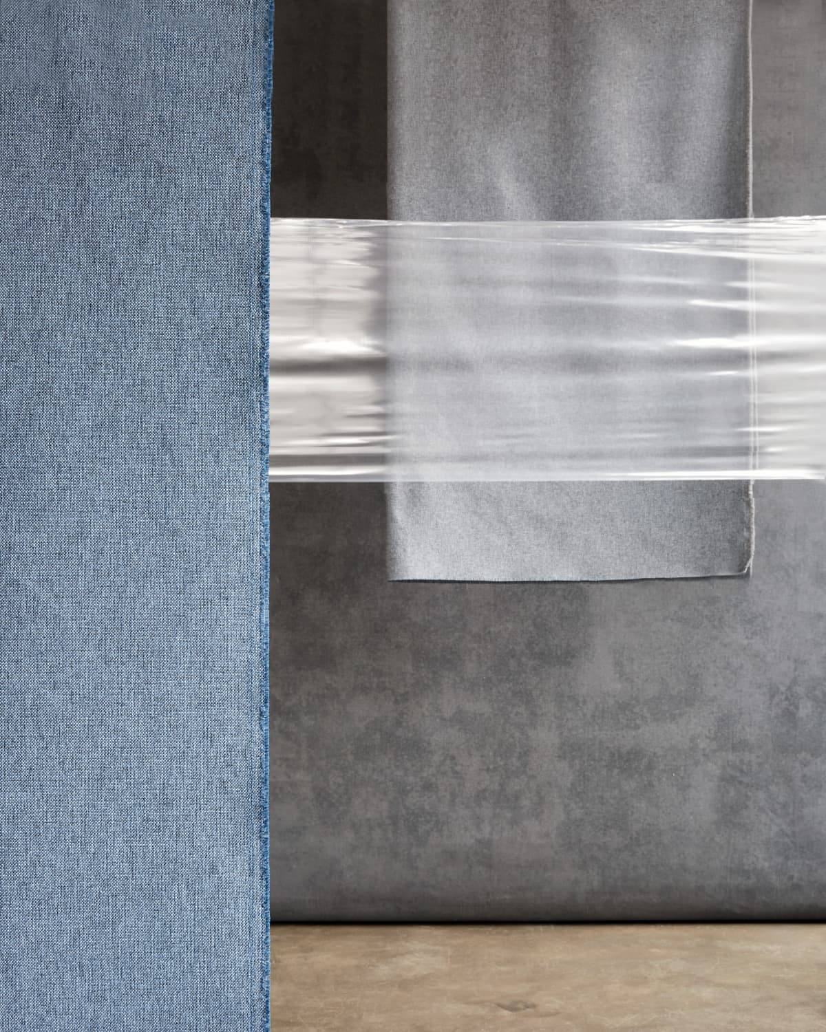 Stitched Meditate Blue & Smoked Silver Grey Recycled Polyester Revive Curtains