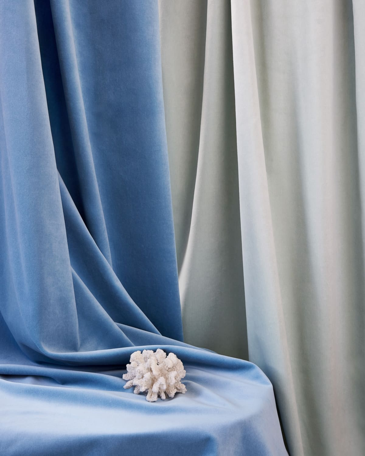 Stitched Blue Topaz Velvet Sustainable Curtains