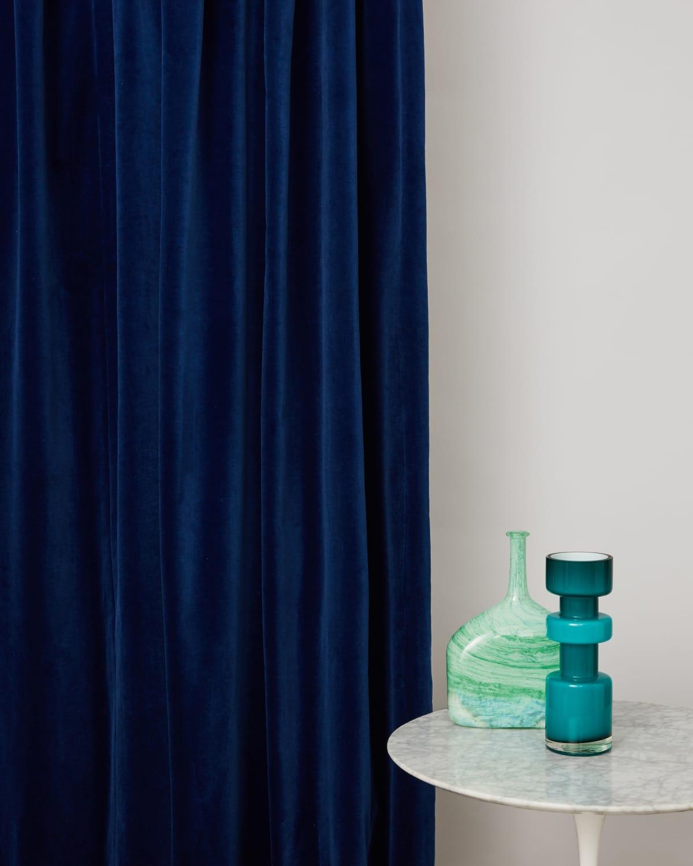 Stitched Blue Topaz Velvet Sustainable Curtains