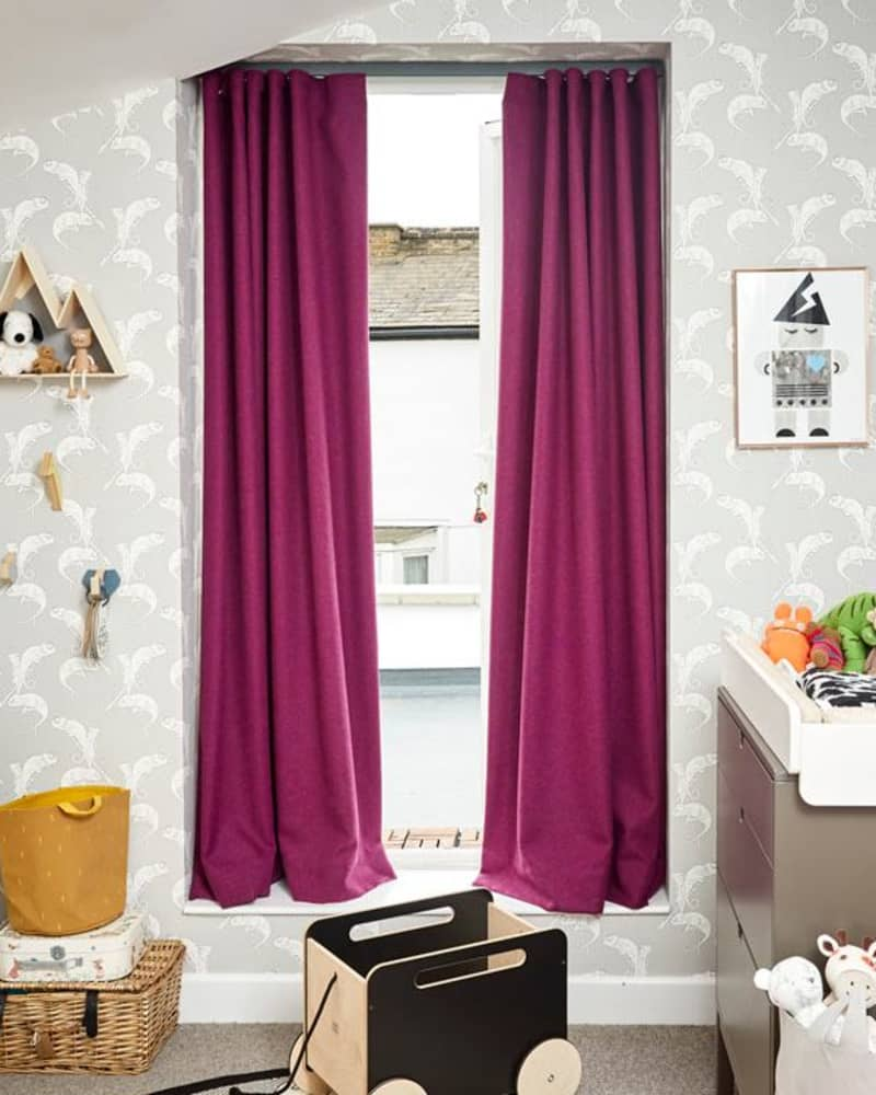 Pink wool curtains in wave style