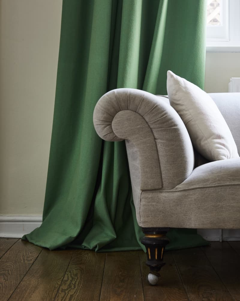 close up green wool curtain