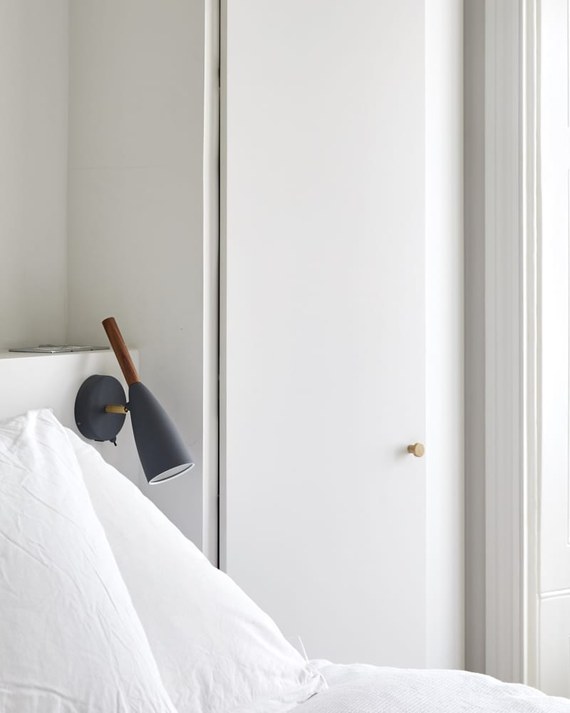close up of white bedroom features