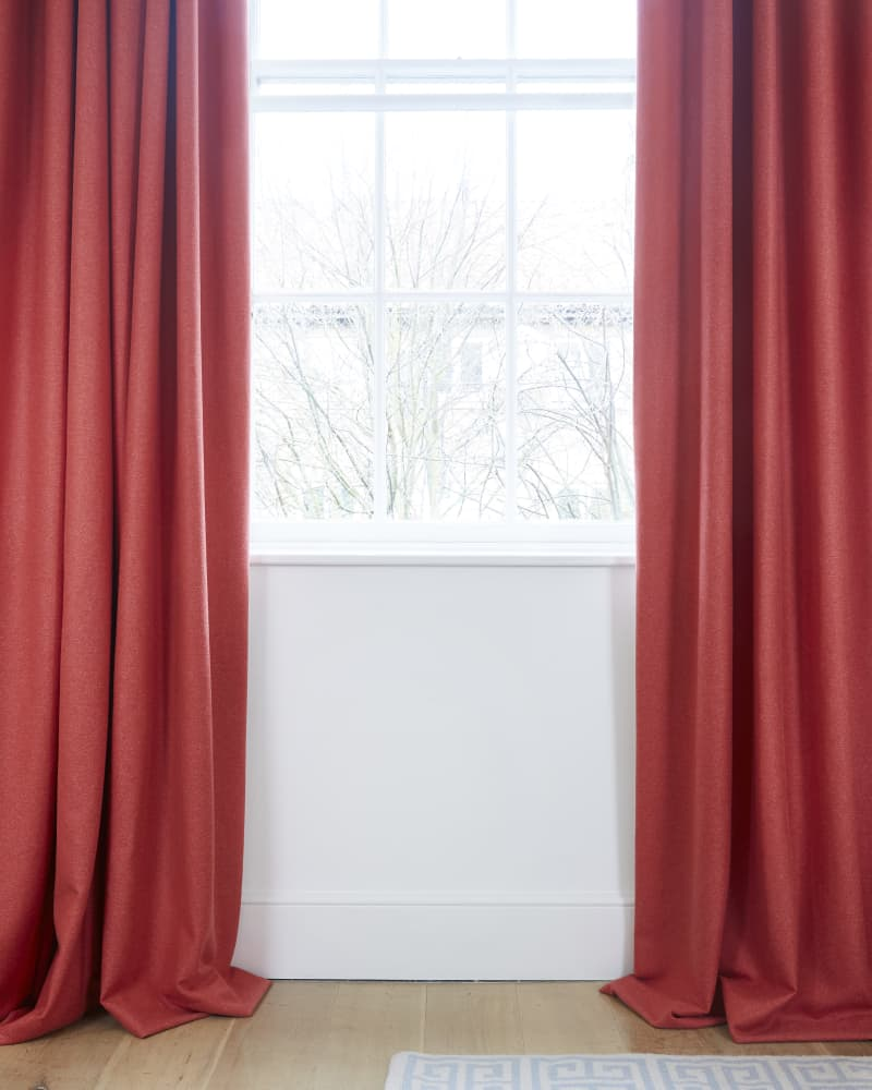Long red curtains