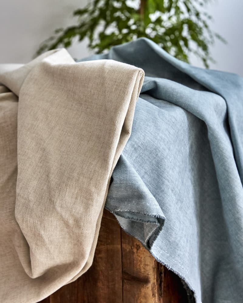 Blue and nude linen and cotton curtains