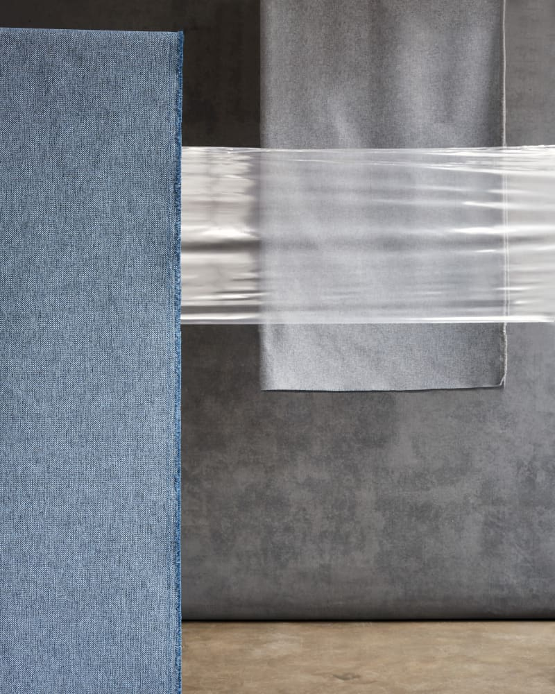 Blue and grey recycled polyester fabrics