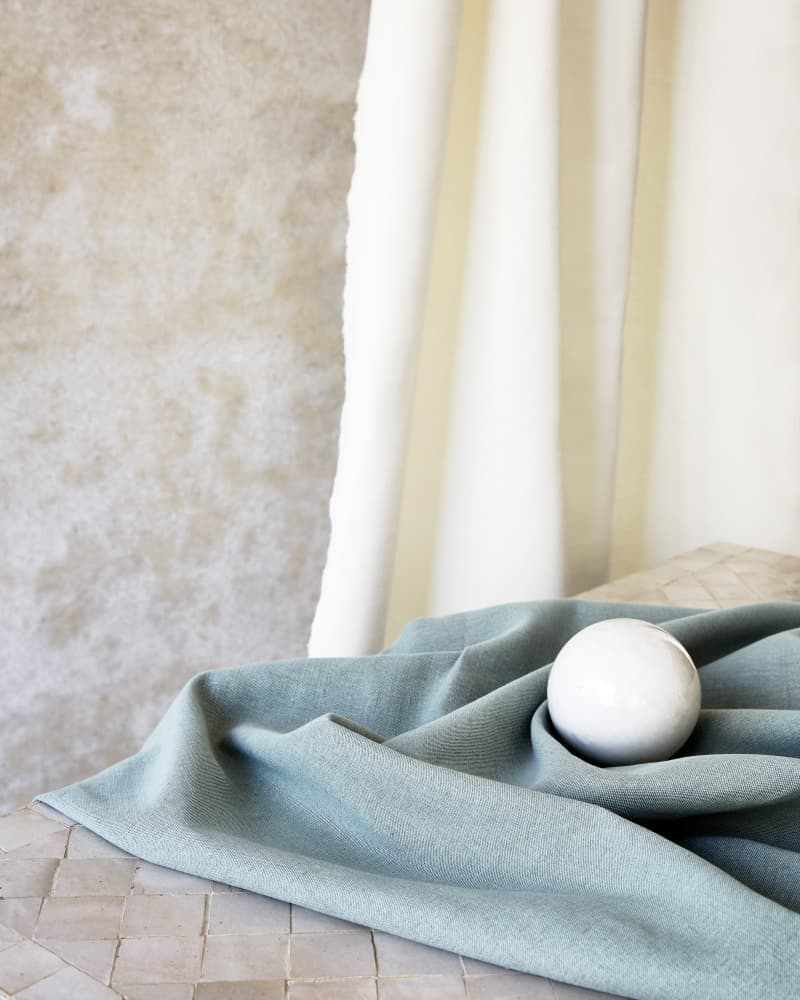 Blue linen and cotton curtains