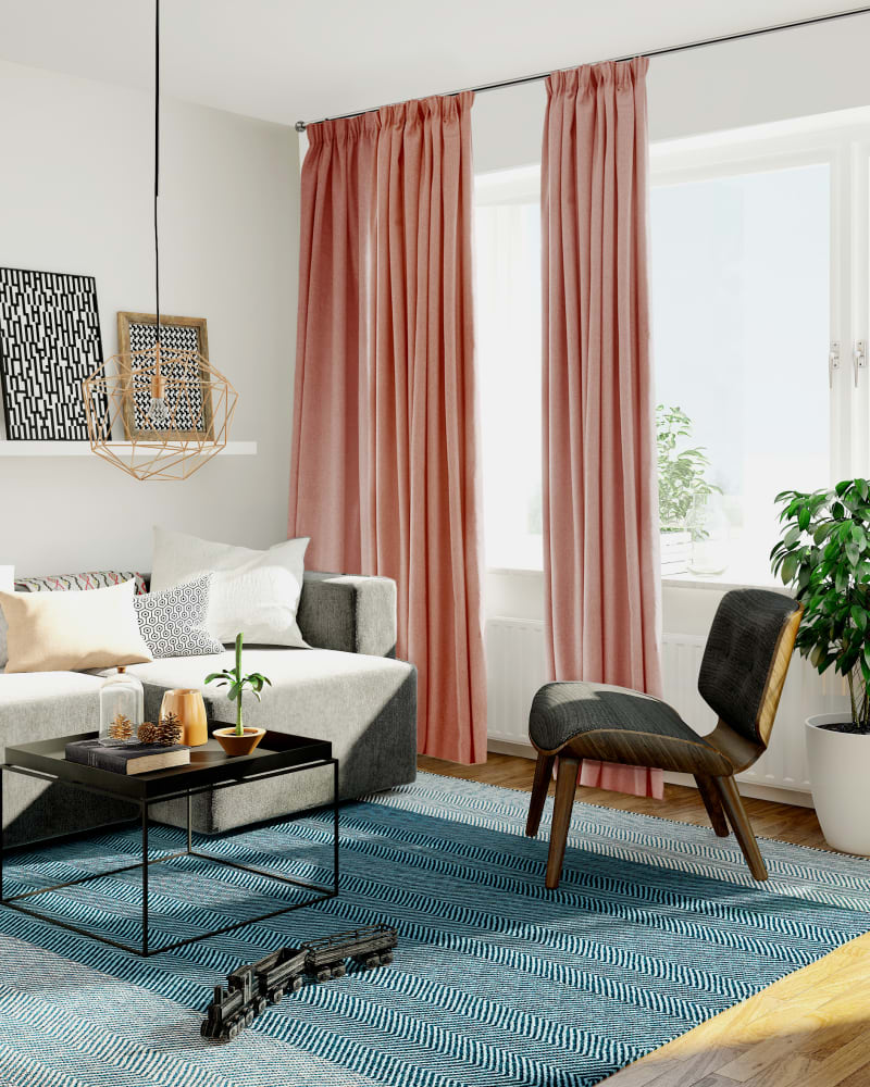 colourful living room with smooth furniture