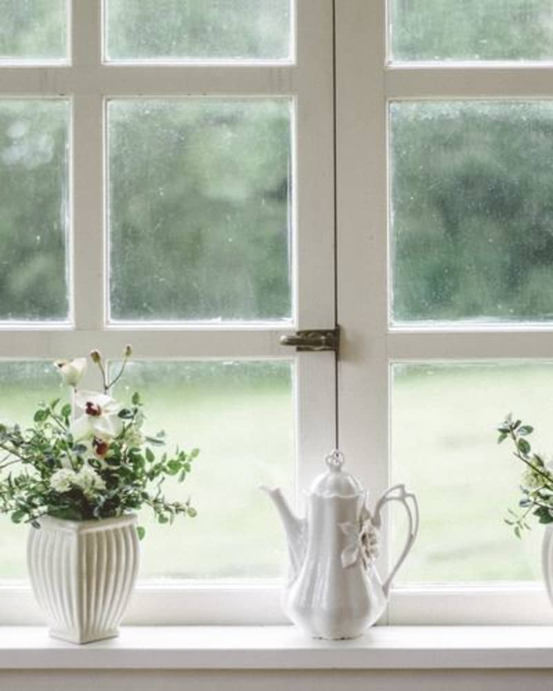 lowers and a teapot on a windowsill
