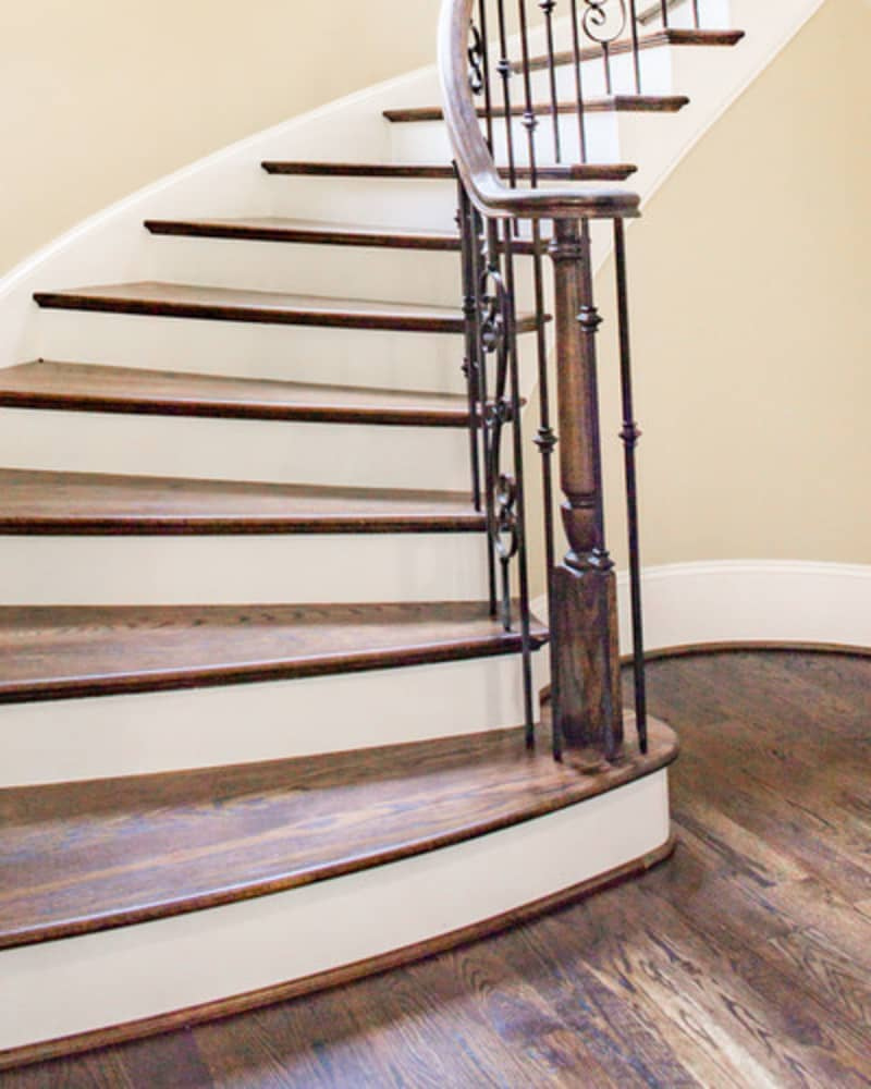 spiralling wooden staircase