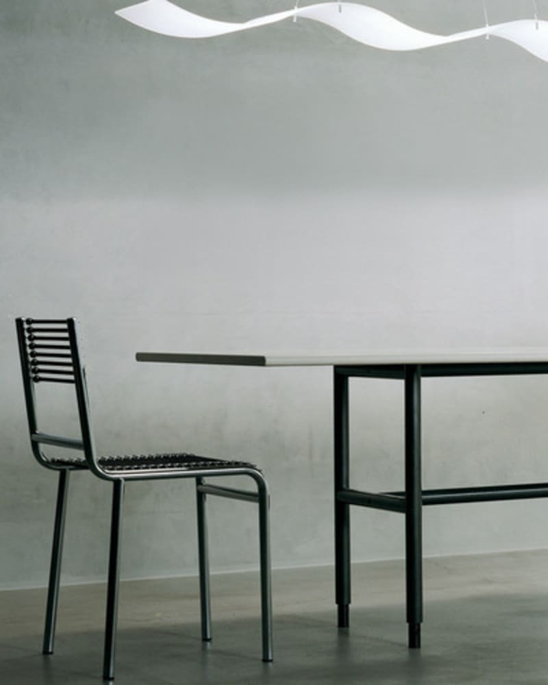 monochrome metal table and chair