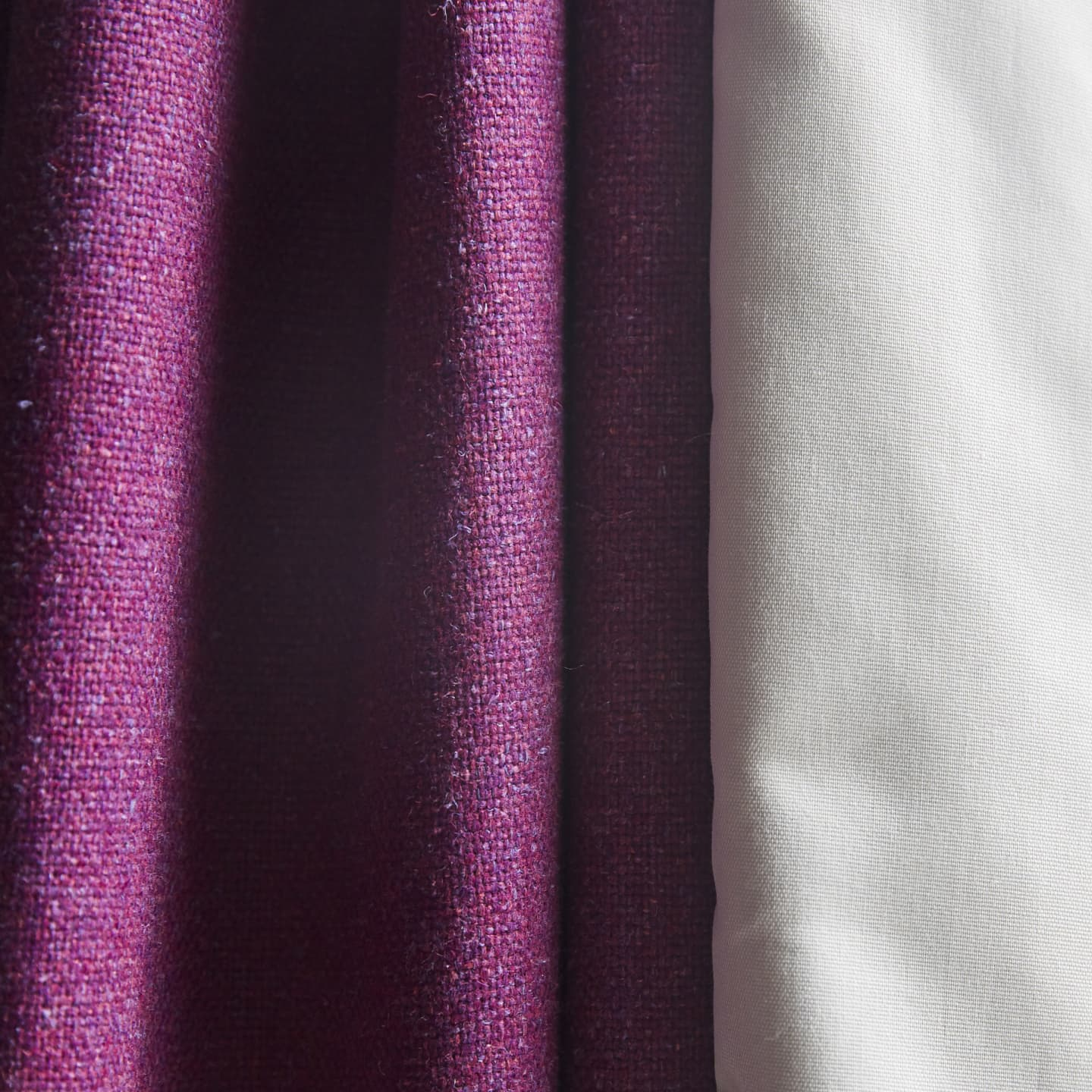 close up of pink cotton/linen curtains stitching