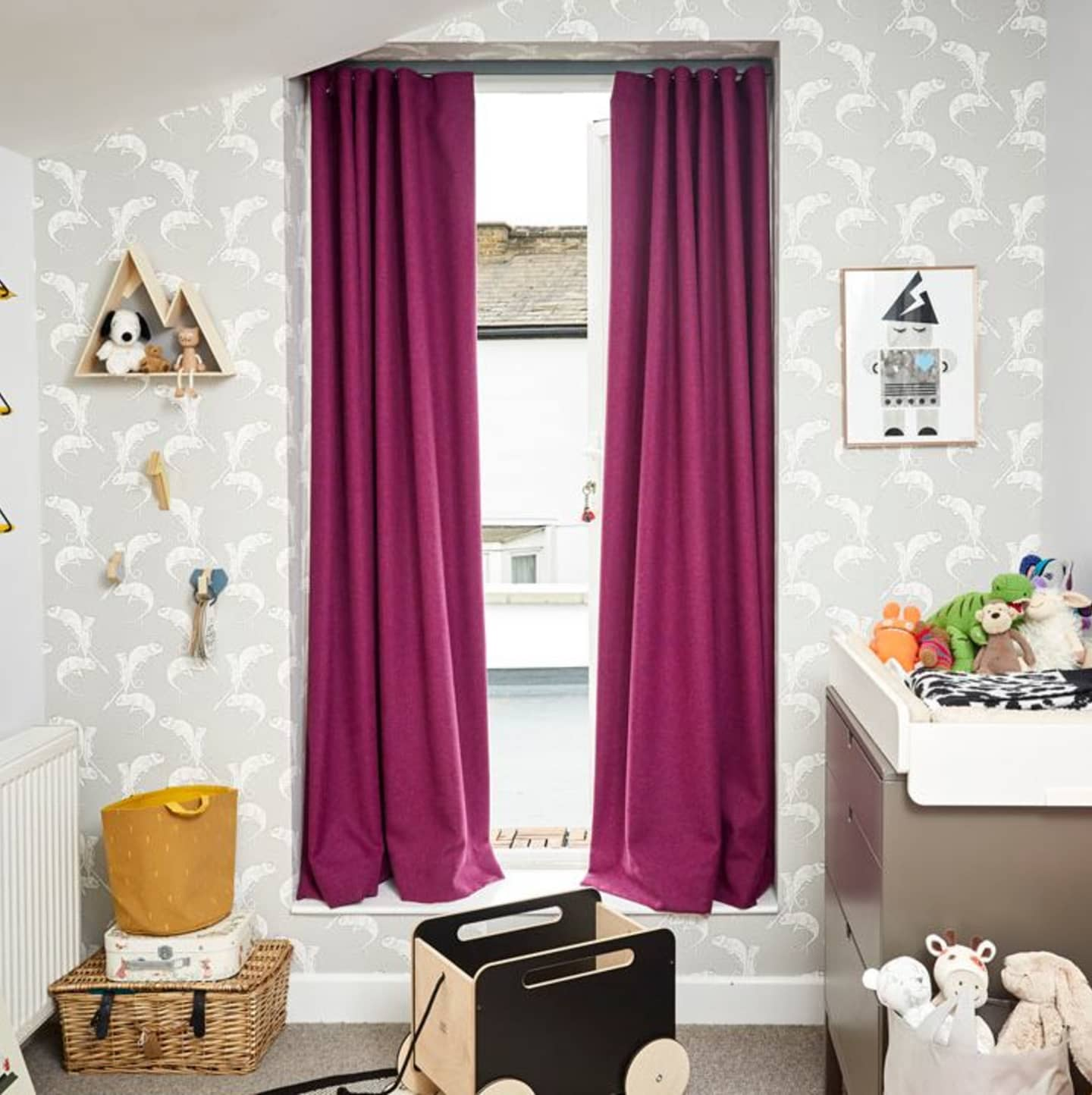 purple curtains in nursery