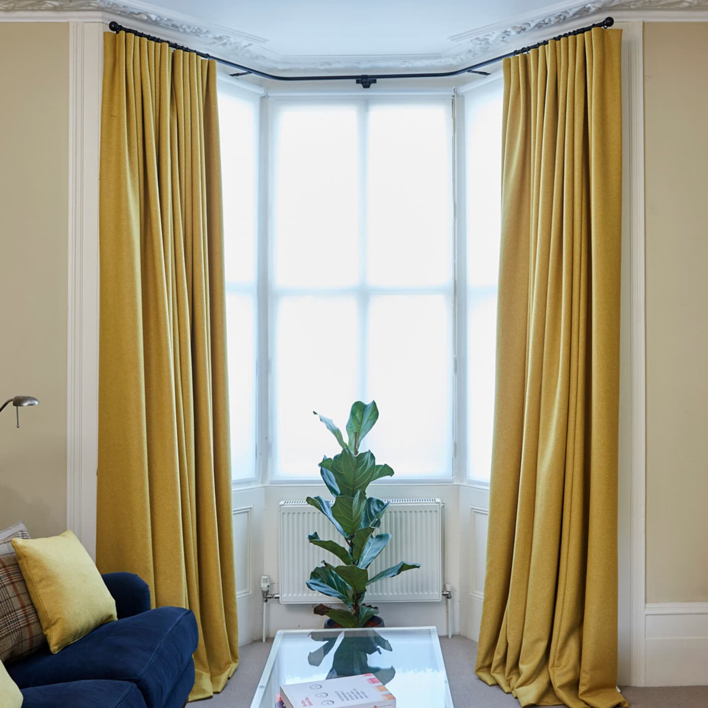 Classic town house interior with yellow and blue features