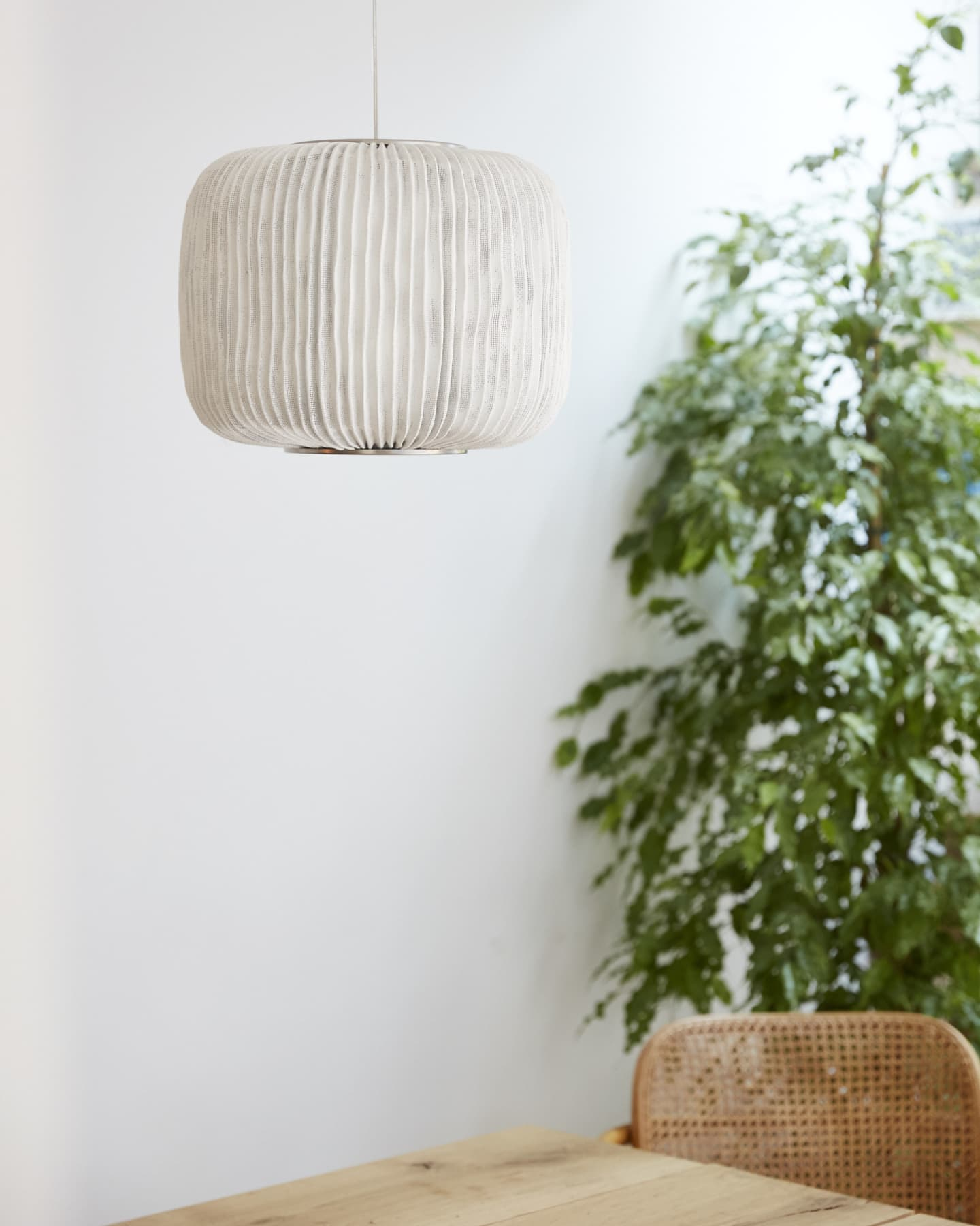 White lamp and wall with green shrub