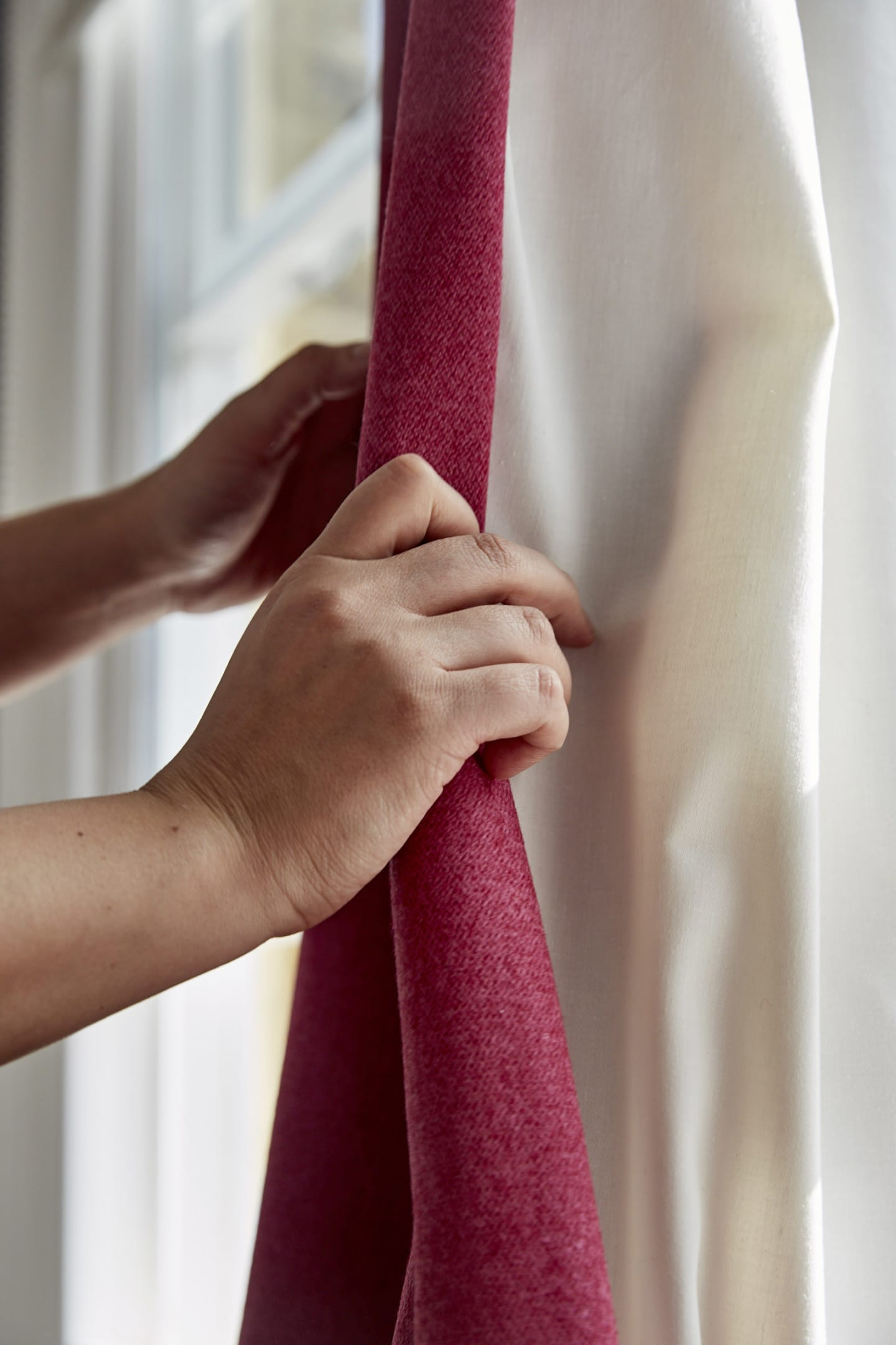 Close up of red Wool curtains
